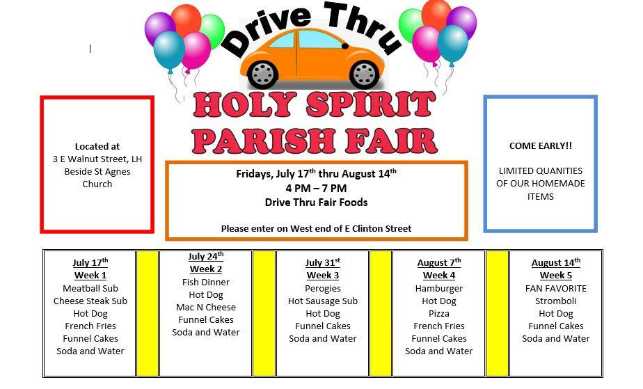 Drive-Thru Holy Spirit Parish Fair