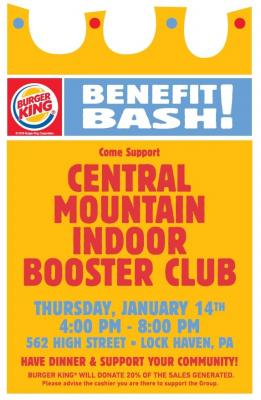 Burger King Benefit Bash for Central Mountain Indoor Booster Club